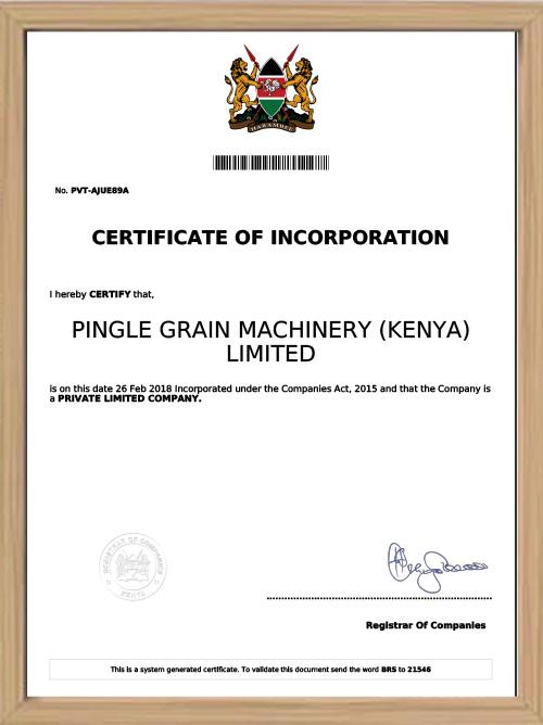 Certificate of Incorporation Pingle Grain Machinery(Kenya) Limited