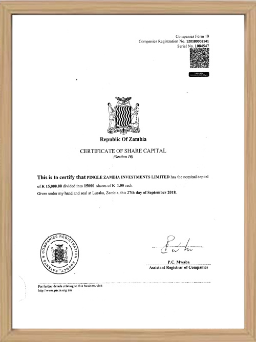 Zambia Branch Company Certificate